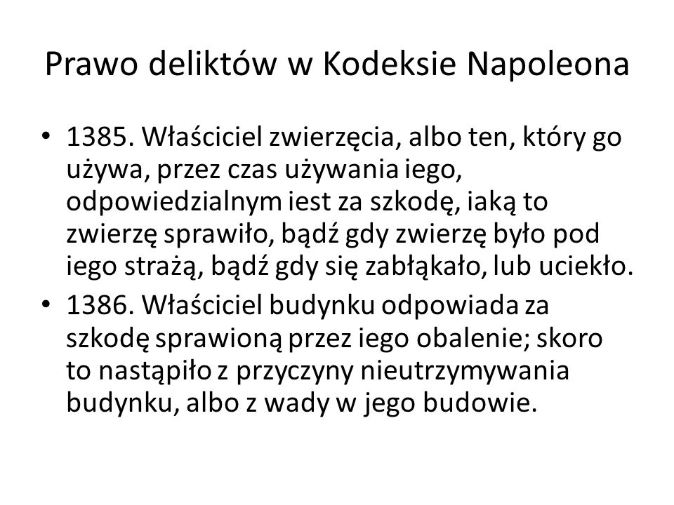 Prawo deliktów w Kodeksie Napoleona