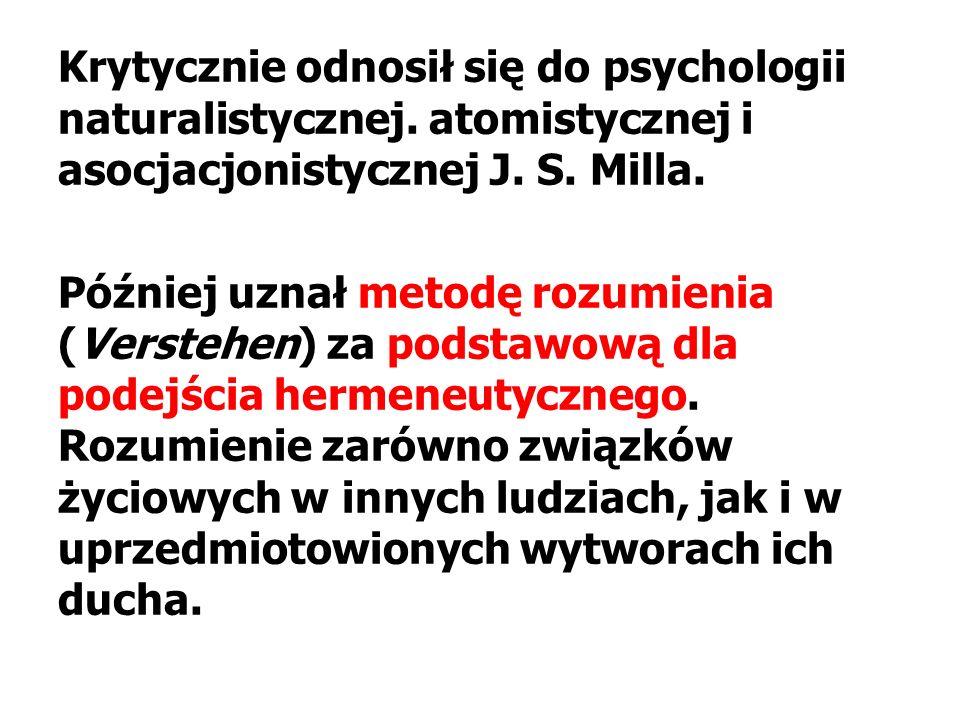 Krytycznie odnosił się do psychologii naturalistycznej