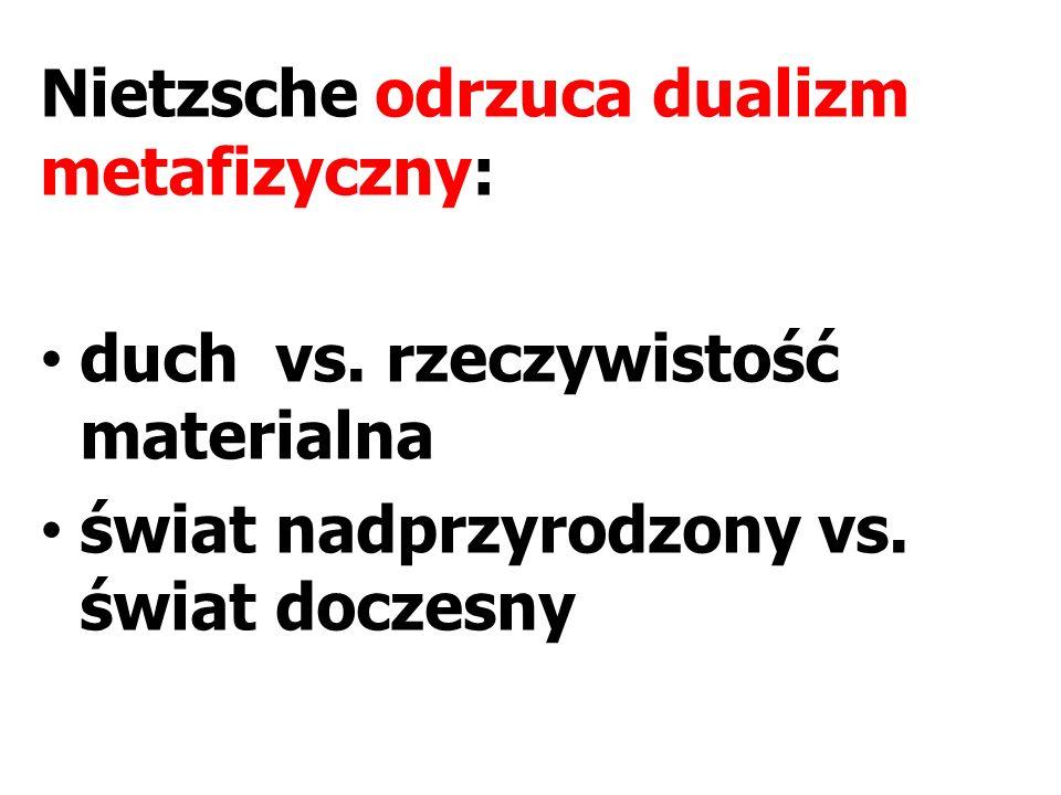 Nietzsche odrzuca dualizm metafizyczny: