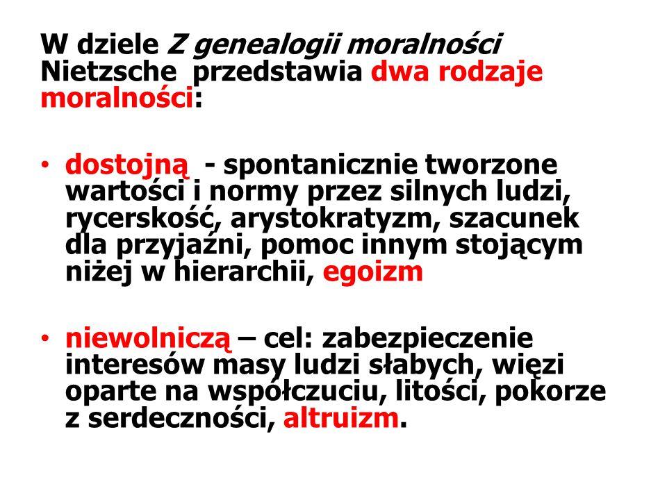 W dziele Z genealogii moralności Nietzsche przedstawia dwa rodzaje moralności: