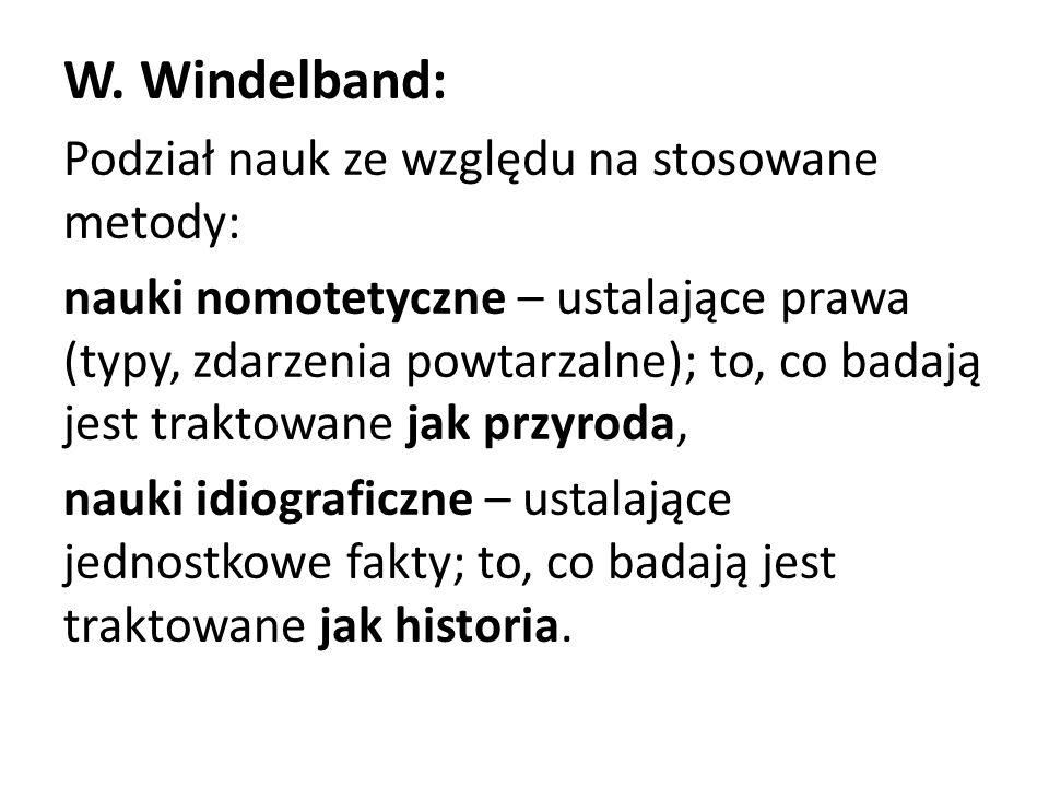 W. Windelband: Podział nauk ze względu na stosowane metody: