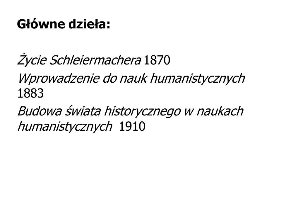 Główne dzieła: Życie Schleiermachera 1870 Wprowadzenie do nauk humanistycznych 1883 Budowa świata historycznego w naukach humanistycznych 1910