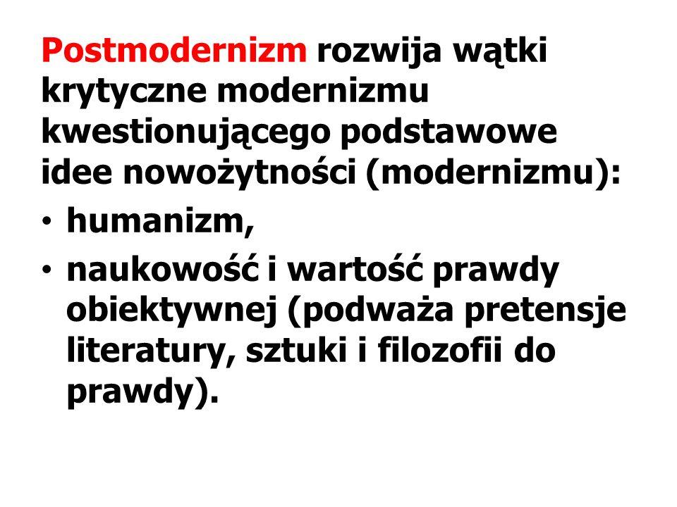Postmodernizm rozwija wątki krytyczne modernizmu kwestionującego podstawowe idee nowożytności (modernizmu):