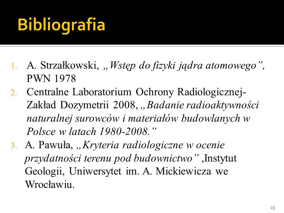 """Bibliografia A. Strzałkowski, """"Wstęp do fizyki jądra atomowego , PWN 1978."""