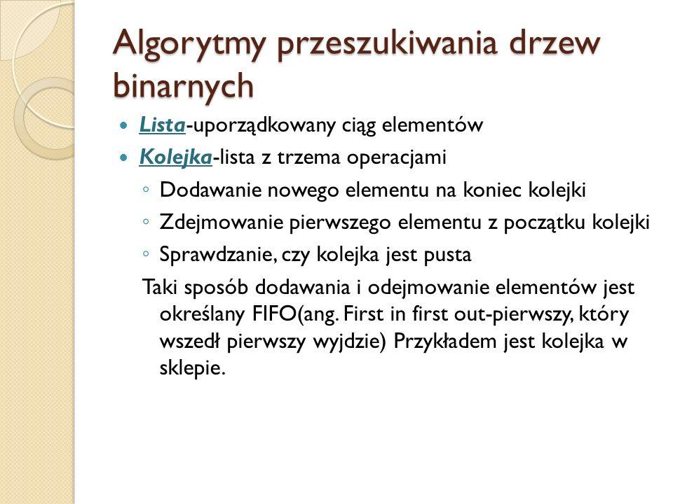 Algorytmy przeszukiwania drzew binarnych