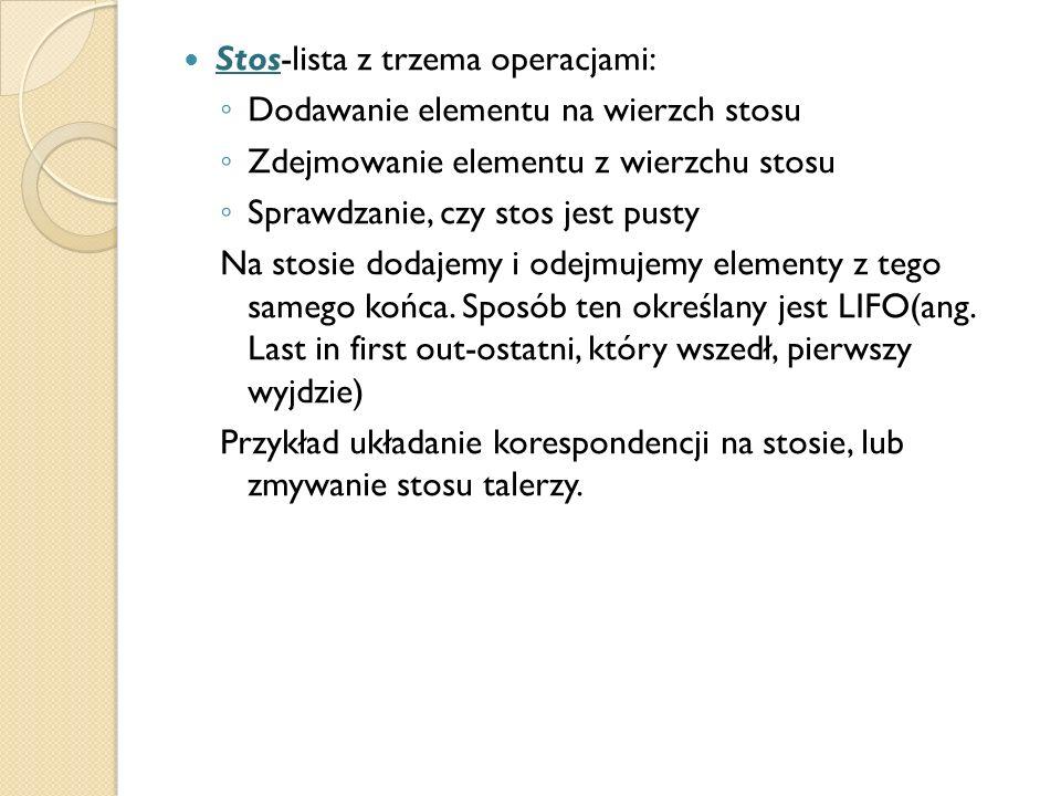 Stos-lista z trzema operacjami: