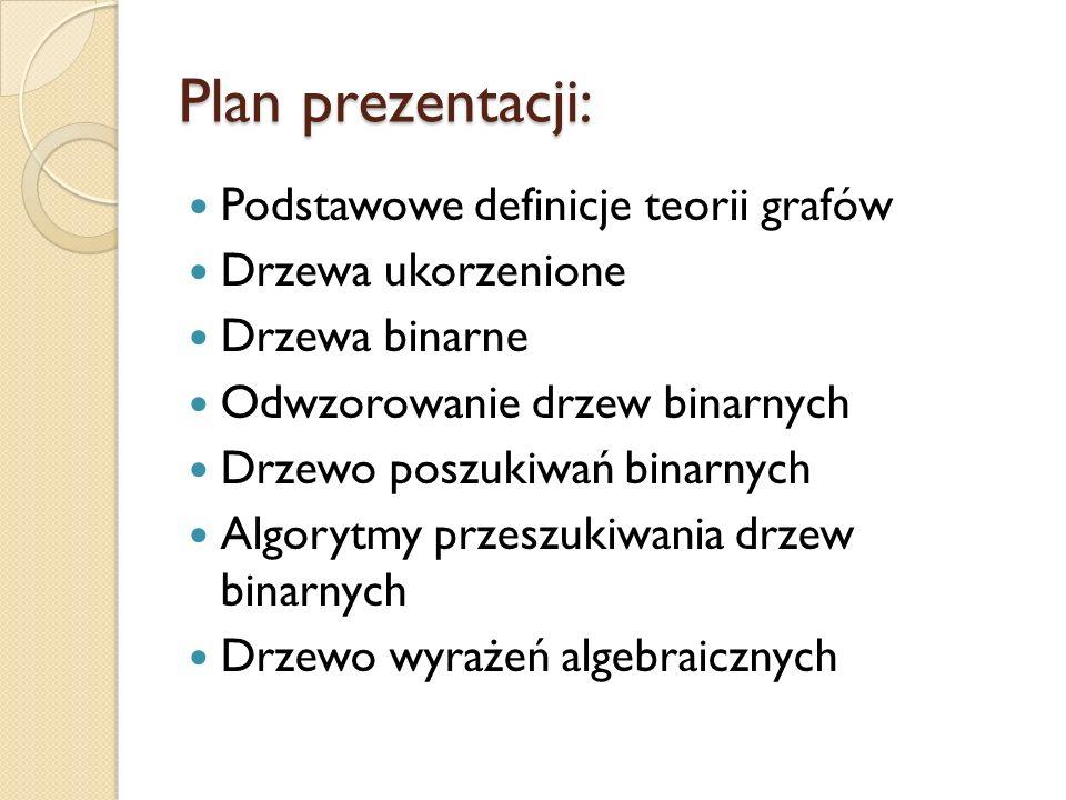 Plan prezentacji: Podstawowe definicje teorii grafów