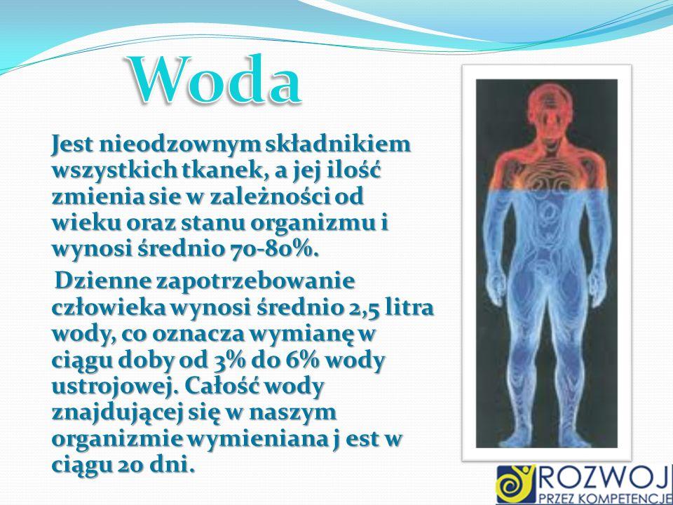 Woda Jest nieodzownym składnikiem wszystkich tkanek, a jej ilość zmienia sie w zależności od wieku oraz stanu organizmu i wynosi średnio 70-80%.