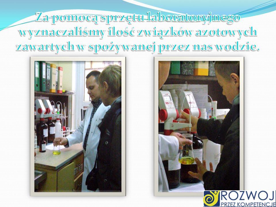 Za pomocą sprzętu laboratoryjnego wyznaczaliśmy ilość związków azotowych zawartych w spożywanej przez nas wodzie.