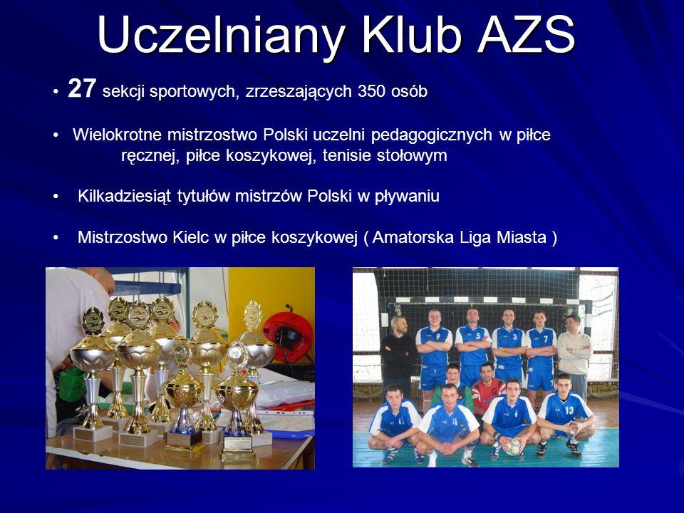Uczelniany Klub AZS 27 sekcji sportowych, zrzeszających 350 osób