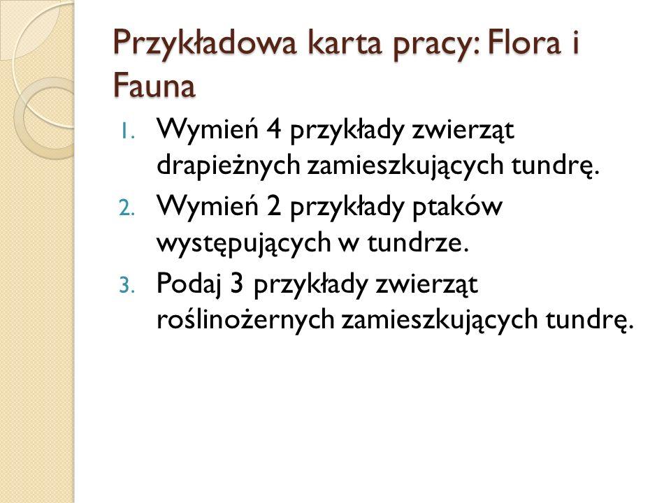 Przykładowa karta pracy: Flora i Fauna