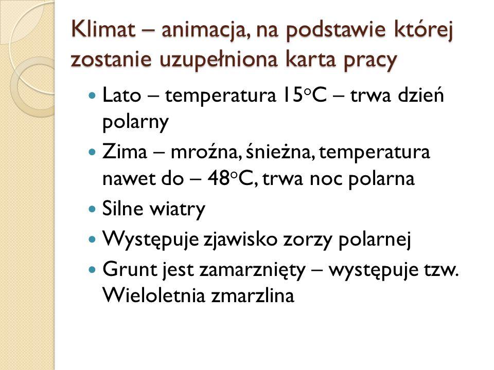 Klimat – animacja, na podstawie której zostanie uzupełniona karta pracy