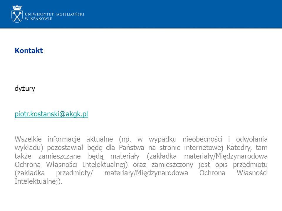 Kontakt dyżury. piotr.kostanski@akgk.pl.