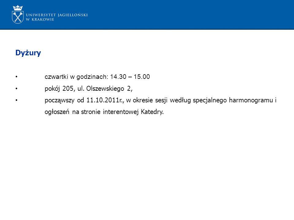 Dyżury czwartki w godzinach: 14.30 – 15.00