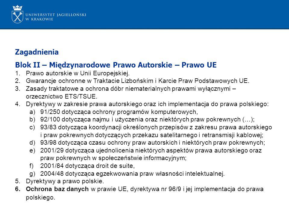 Blok II – Międzynarodowe Prawo Autorskie – Prawo UE