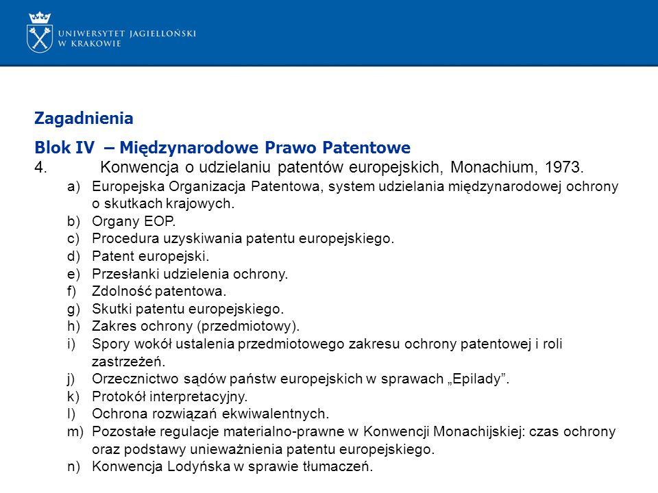 Blok IV – Międzynarodowe Prawo Patentowe