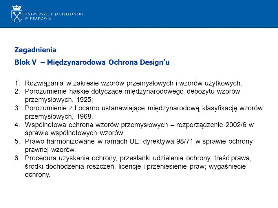 Zagadnienia Blok V – Międzynarodowa Ochrona Design'u. Rozwiązania w zakresie wzorów przemysłowych i wzorów użytkowych.