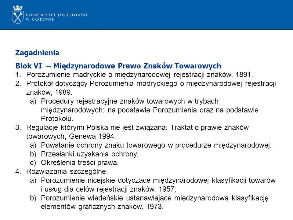 Zagadnienia Blok VI – Międzynarodowe Prawo Znaków Towarowych. Porozumienie madryckie o międzynarodowej rejestracji znaków, 1891.