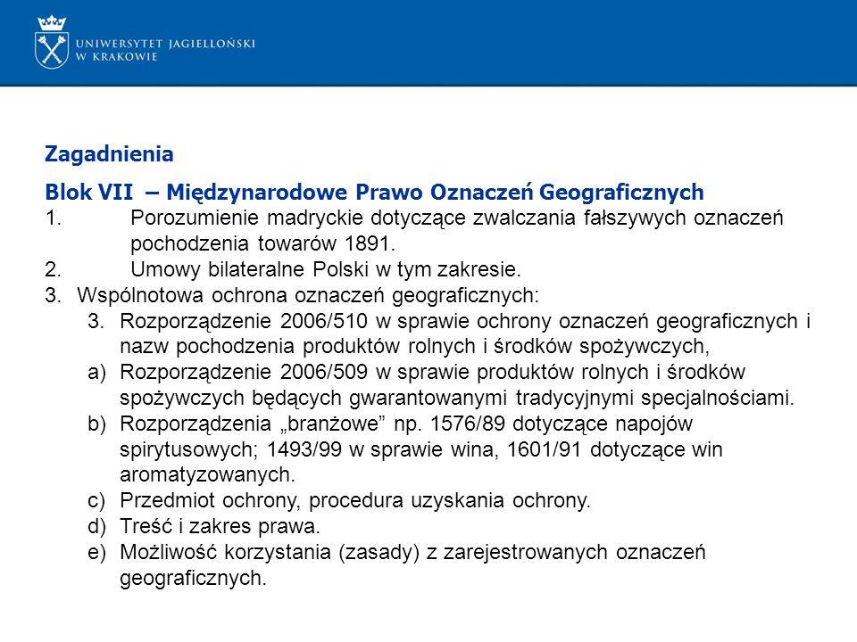 Zagadnienia Blok VII – Międzynarodowe Prawo Oznaczeń Geograficznych.