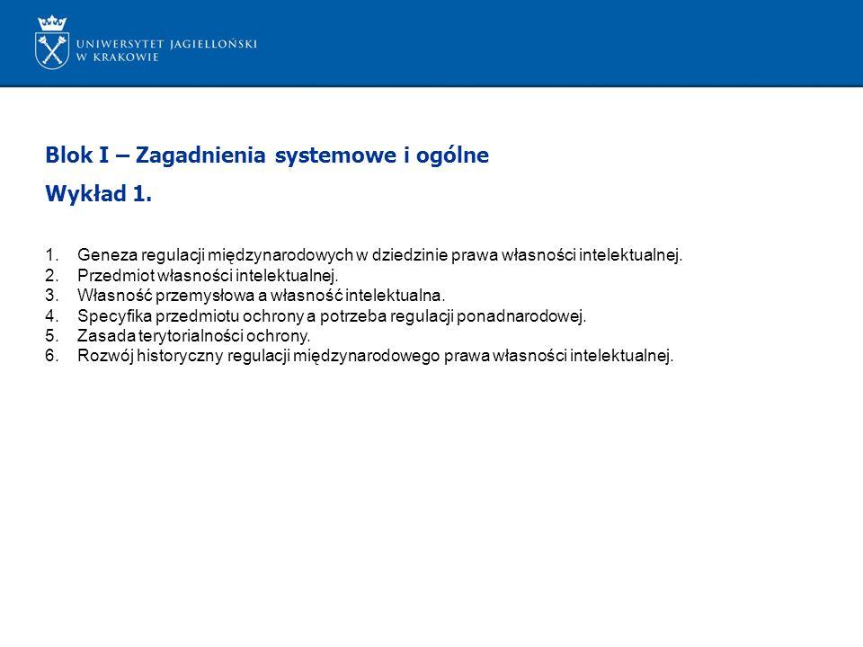 Blok I – Zagadnienia systemowe i ogólne Wykład 1.