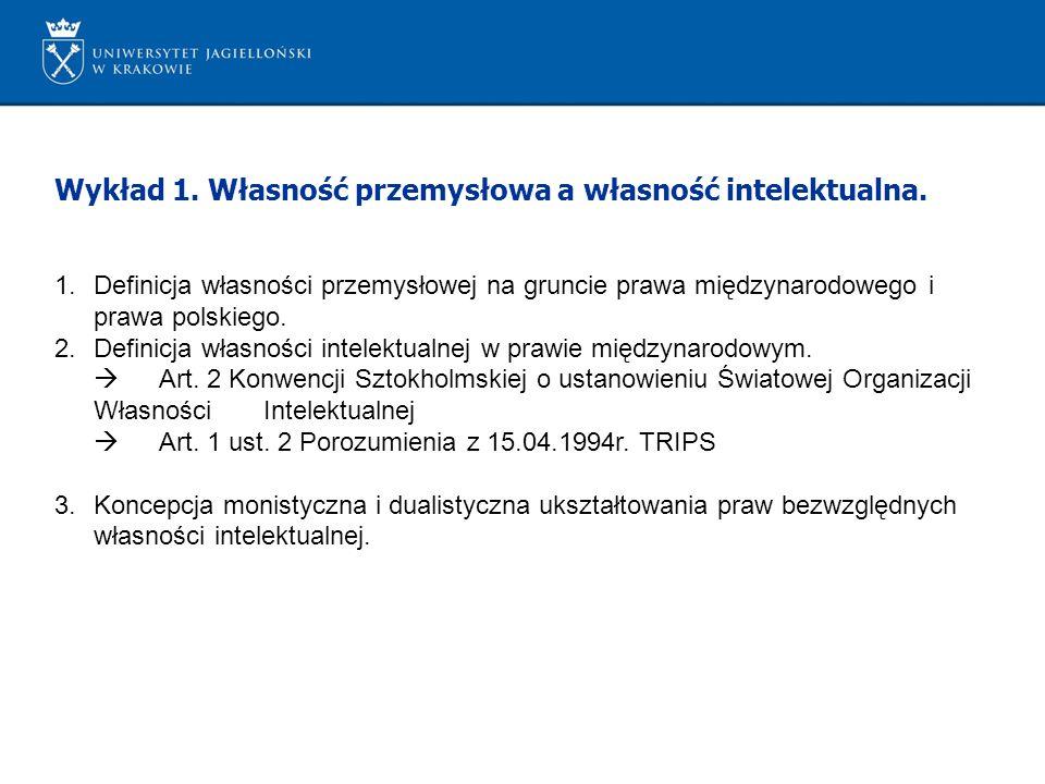 Wykład 1. Własność przemysłowa a własność intelektualna.