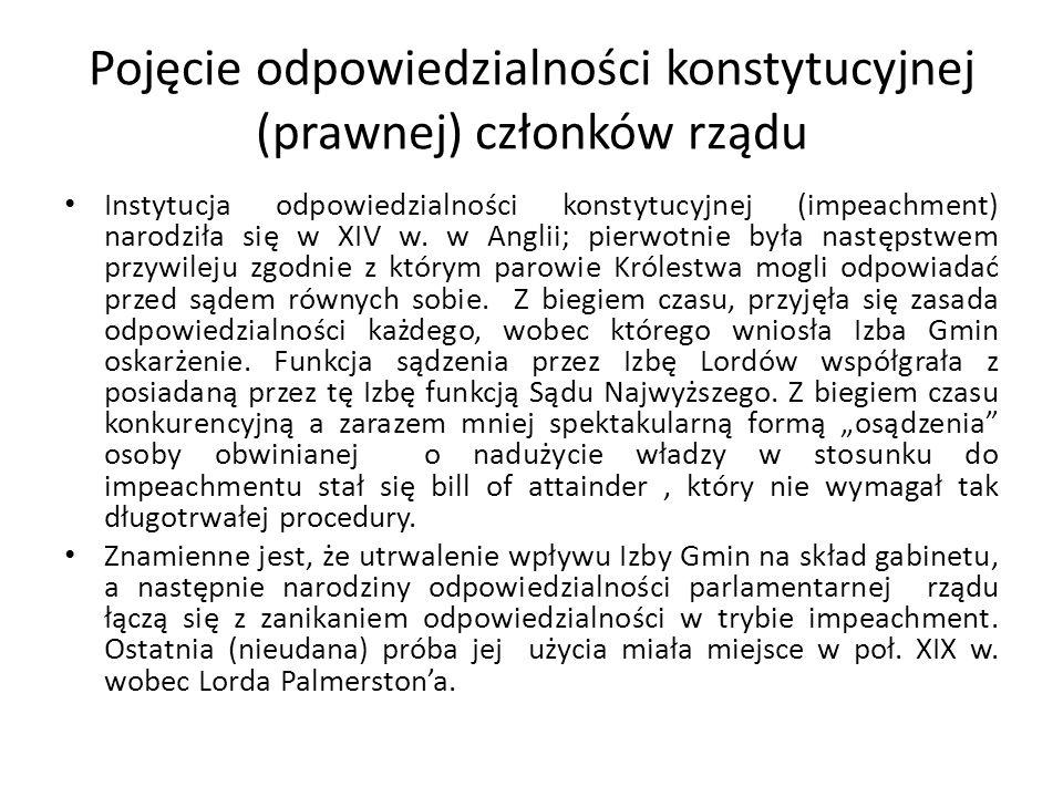 Pojęcie odpowiedzialności konstytucyjnej (prawnej) członków rządu