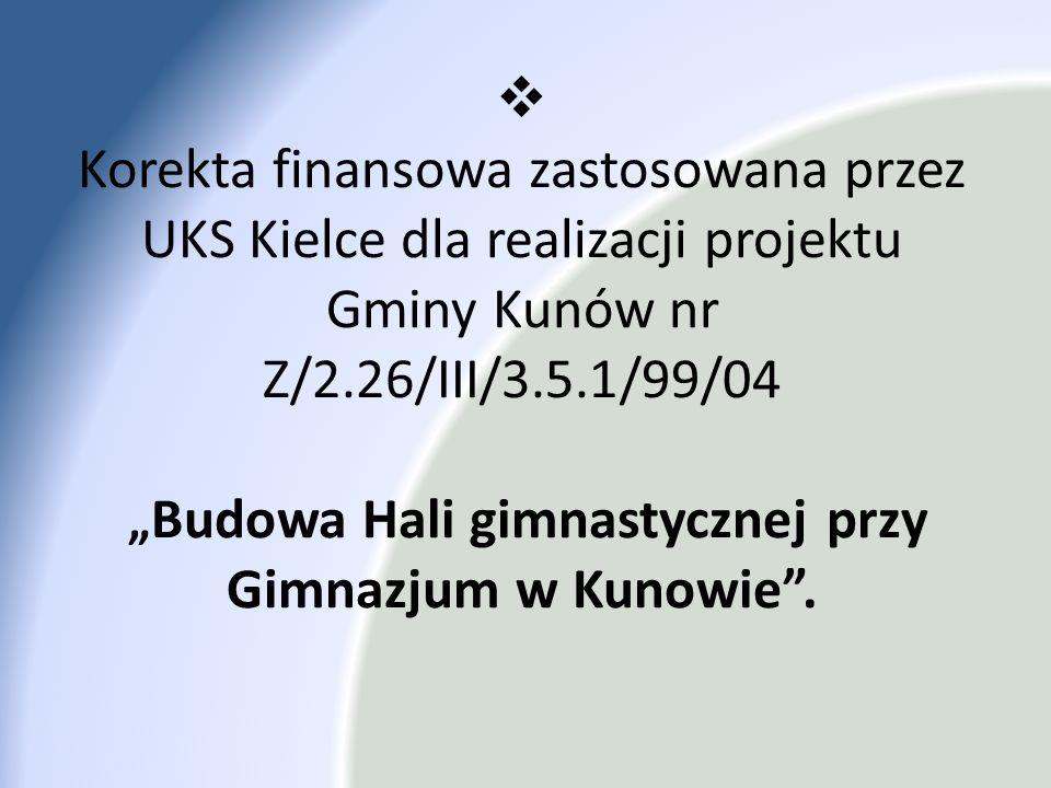 """Korekta finansowa zastosowana przez UKS Kielce dla realizacji projektu Gminy Kunów nr Z/2.26/III/3.5.1/99/04 """"Budowa Hali gimnastycznej przy Gimnazjum w Kunowie ."""