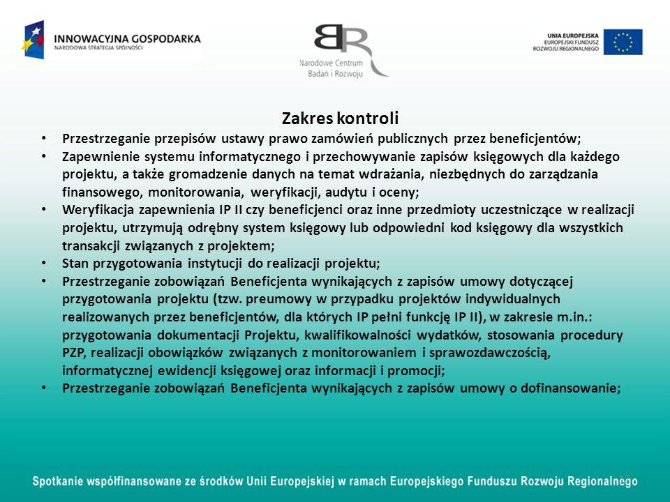 Zakres kontroli Przestrzeganie przepisów ustawy prawo zamówień publicznych przez beneficjentów;