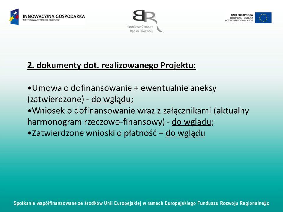 2. dokumenty dot. realizowanego Projektu: