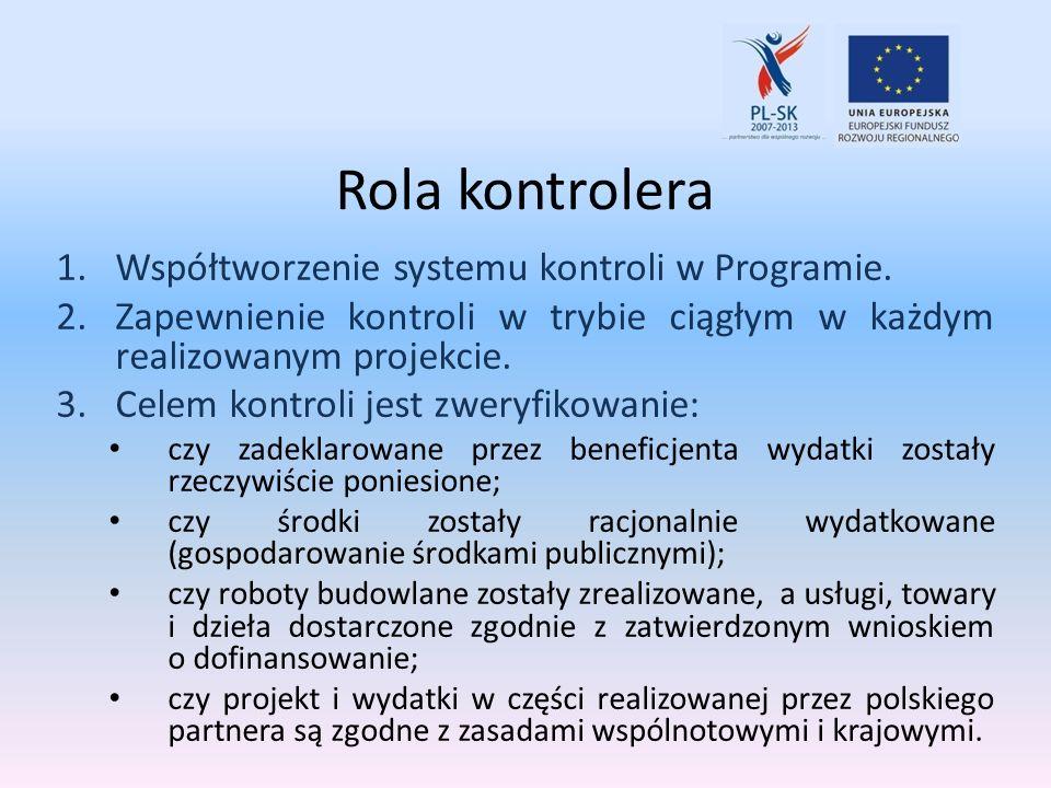 Rola kontrolera Współtworzenie systemu kontroli w Programie.