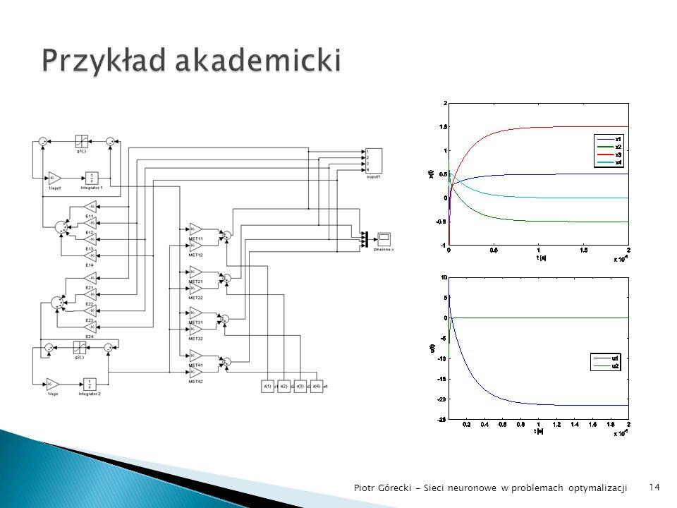 Przykład akademicki Piotr Górecki - Sieci neuronowe w problemach optymalizacji