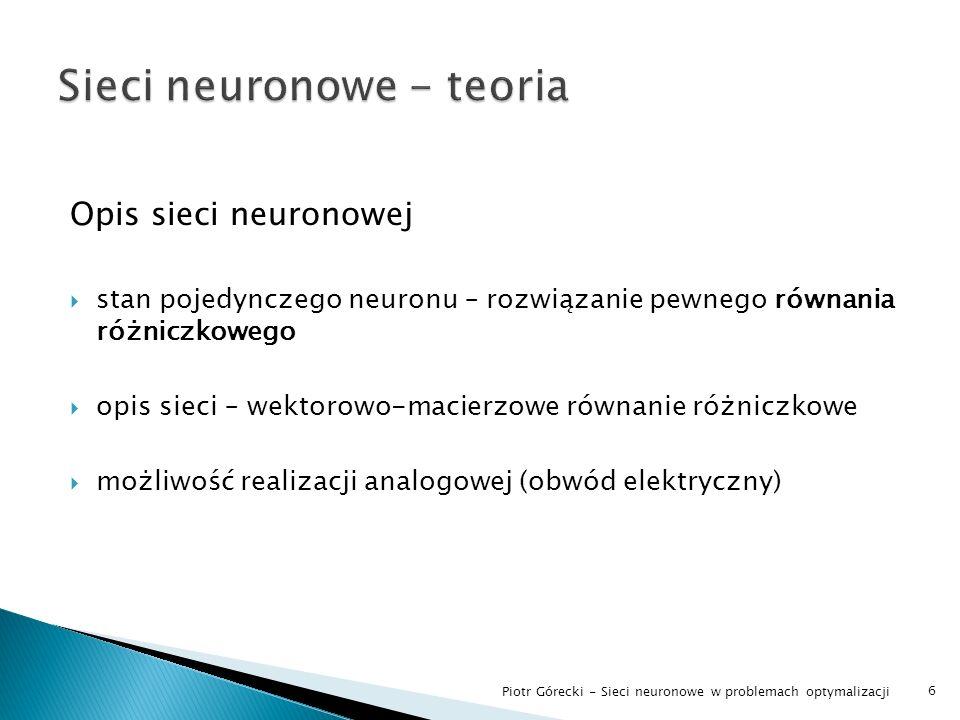 Sieci neuronowe - teoria