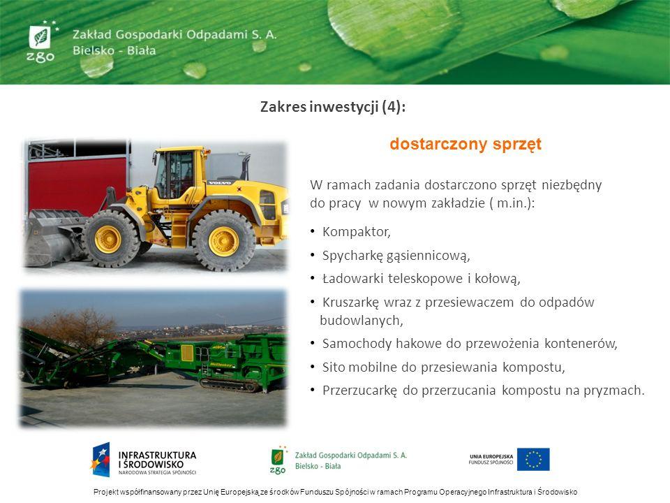 Zakres inwestycji (4): dostarczony sprzęt