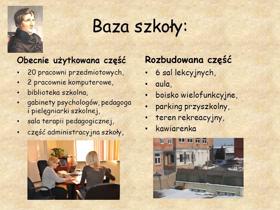 Baza szkoły: Rozbudowana część Obecnie użytkowana część