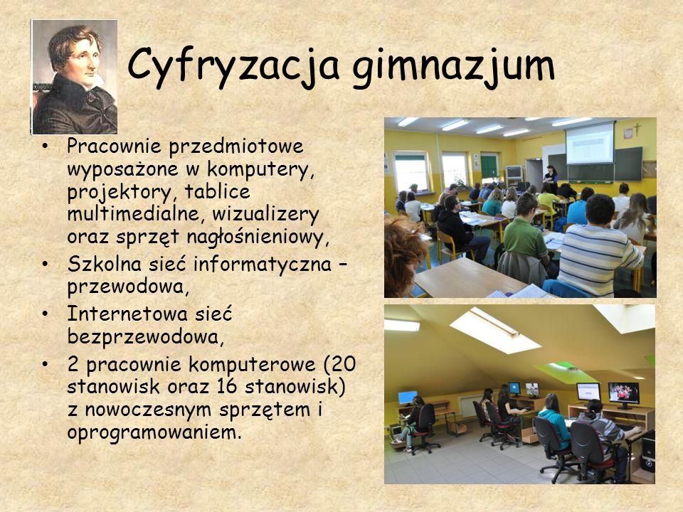 Cyfryzacja gimnazjum Pracownie przedmiotowe wyposażone w komputery, projektory, tablice multimedialne, wizualizery oraz sprzęt nagłośnieniowy,