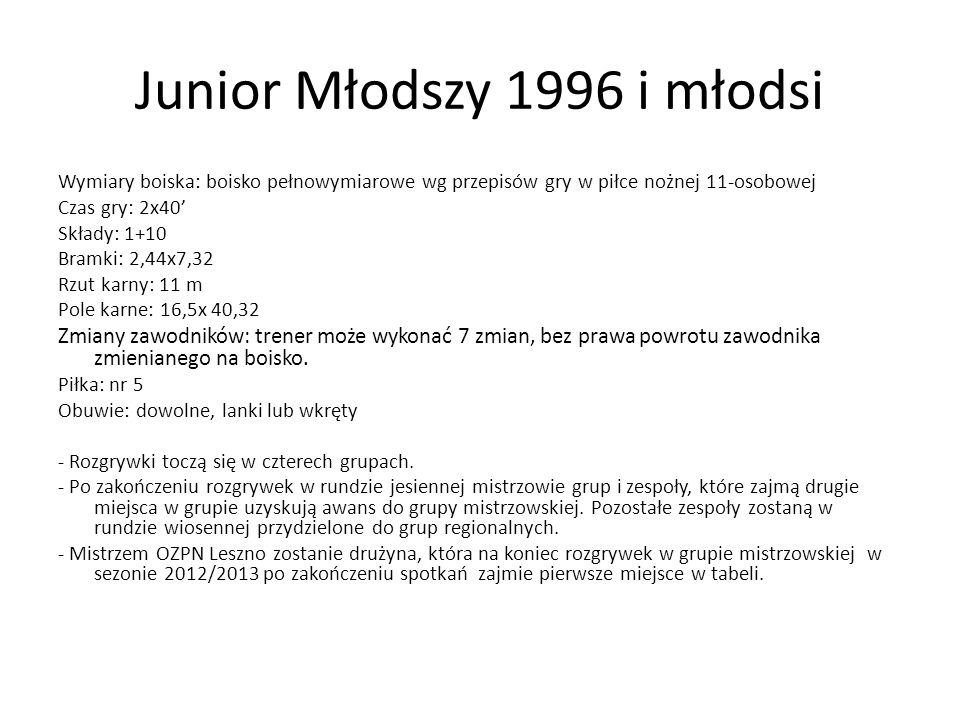 Junior Młodszy 1996 i młodsi