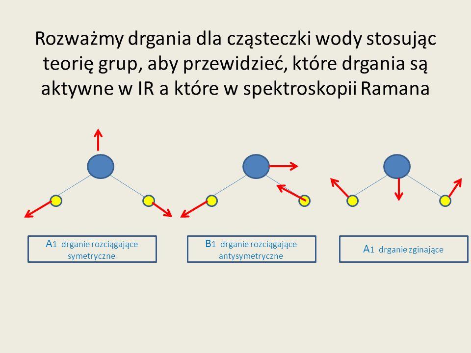 Rozważmy drgania dla cząsteczki wody stosując teorię grup, aby przewidzieć, które drgania są aktywne w IR a które w spektroskopii Ramana