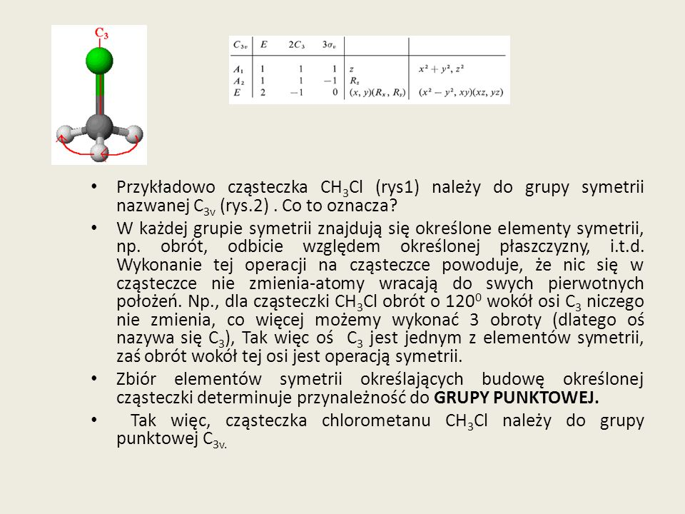 Przykładowo cząsteczka CH3Cl (rys1) należy do grupy symetrii nazwanej C3v (rys.2) . Co to oznacza