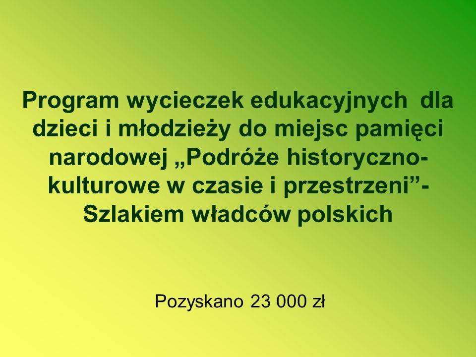 """Program wycieczek edukacyjnych dla dzieci i młodzieży do miejsc pamięci narodowej """"Podróże historyczno-kulturowe w czasie i przestrzeni - Szlakiem władców polskich"""