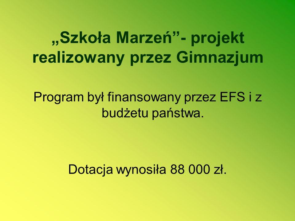 """""""Szkoła Marzeń - projekt realizowany przez Gimnazjum"""