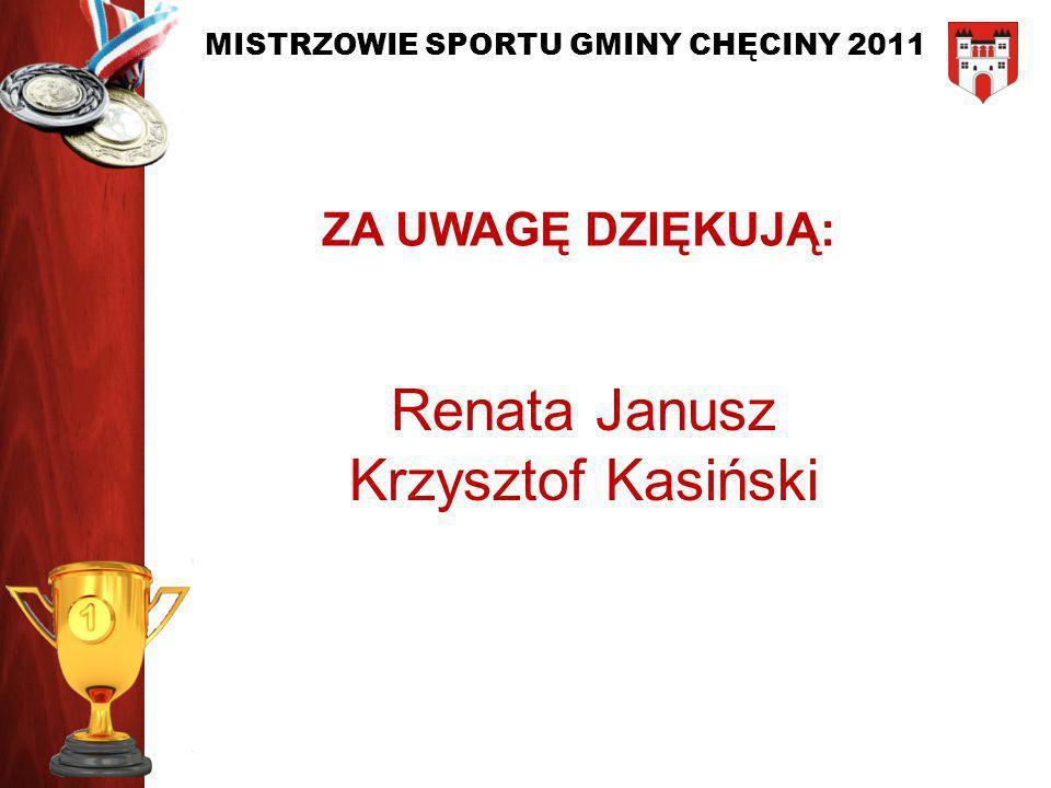 ZA UWAGĘ DZIĘKUJĄ: Renata Janusz Krzysztof Kasiński