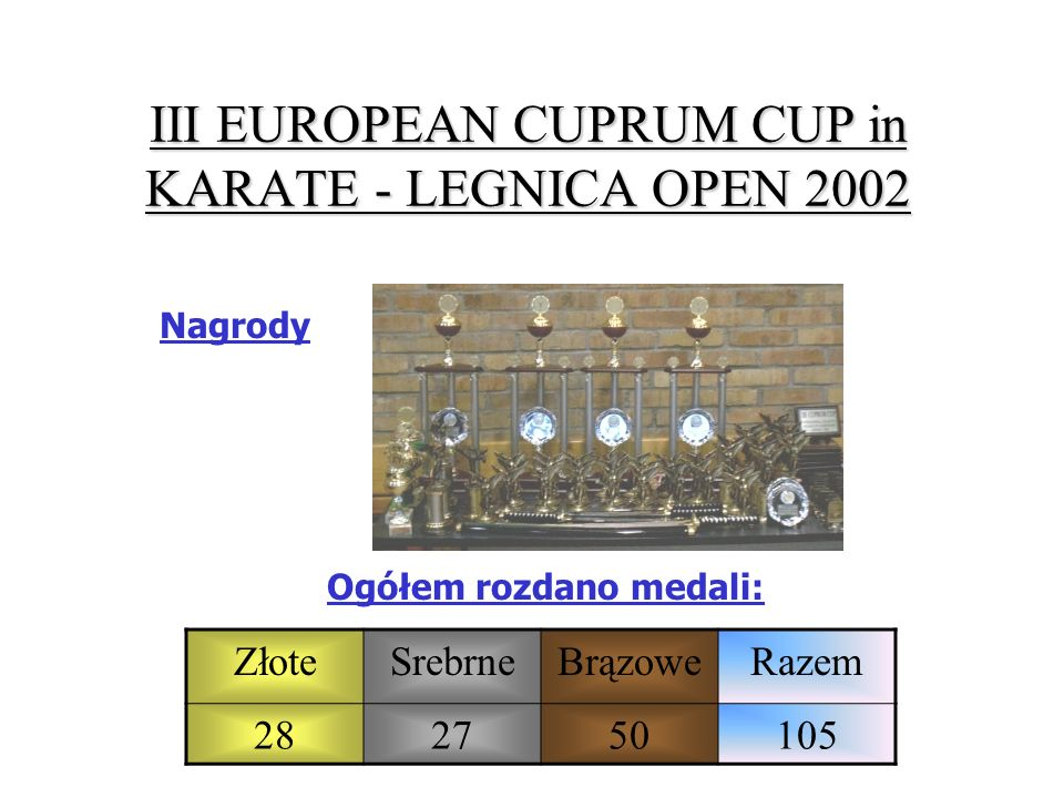 III EUROPEAN CUPRUM CUP in KARATE - LEGNICA OPEN 2002