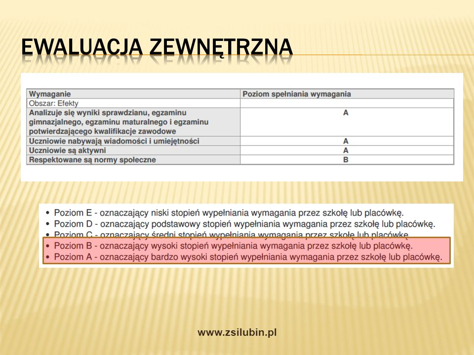 Ewaluacja zewnętrzna www.zsilubin.pl