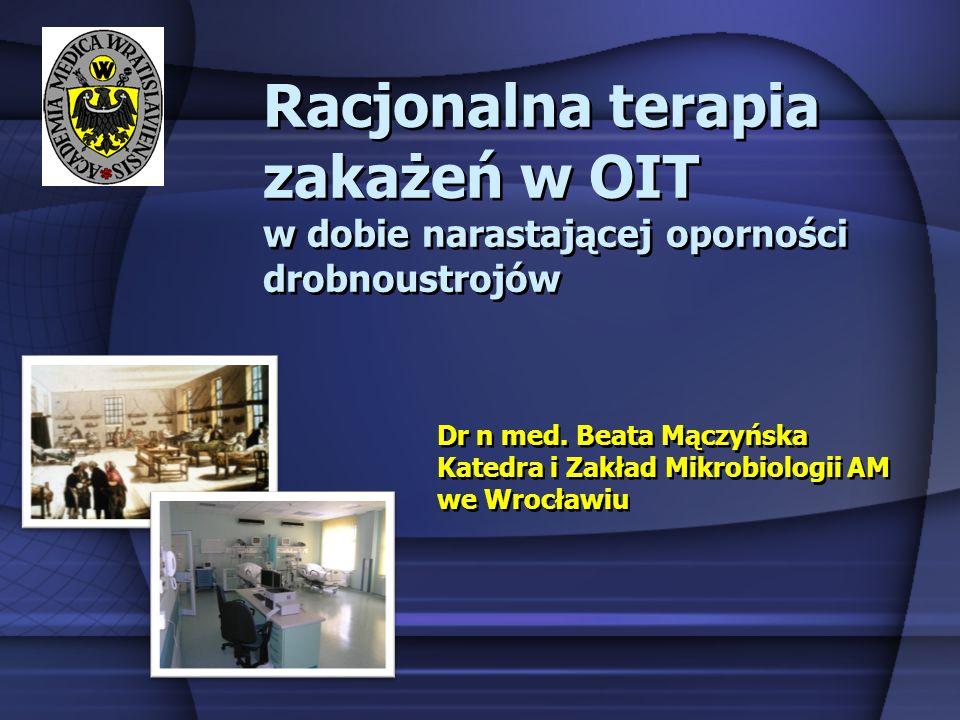 Racjonalna terapia zakażeń w OIT w dobie narastającej oporności drobnoustrojów