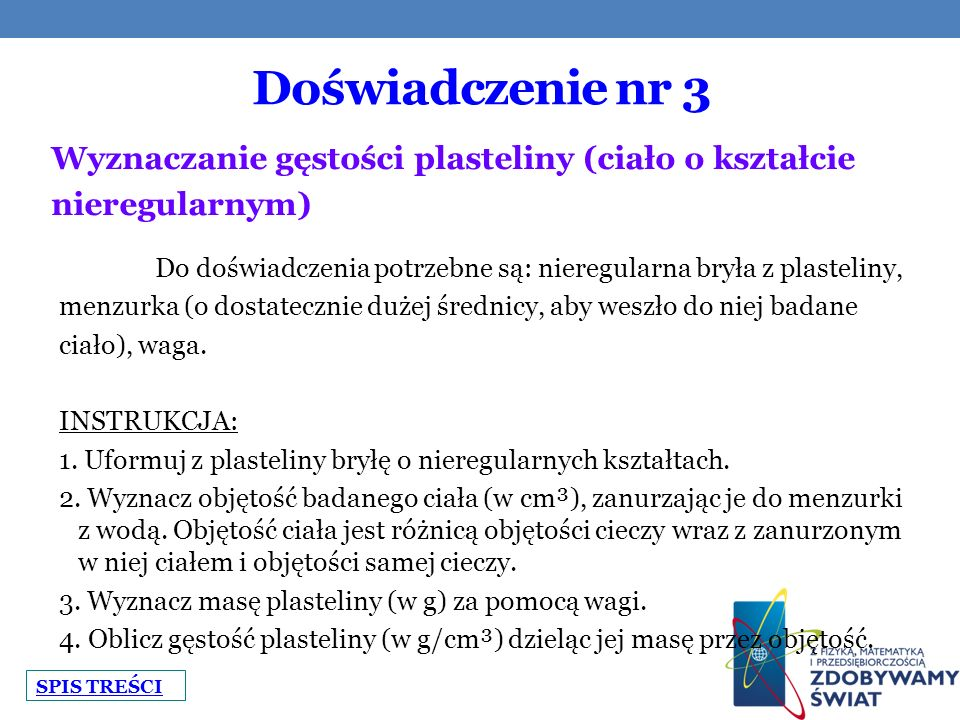 Doświadczenie nr 3 Wyznaczanie gęstości plasteliny (ciało o kształcie
