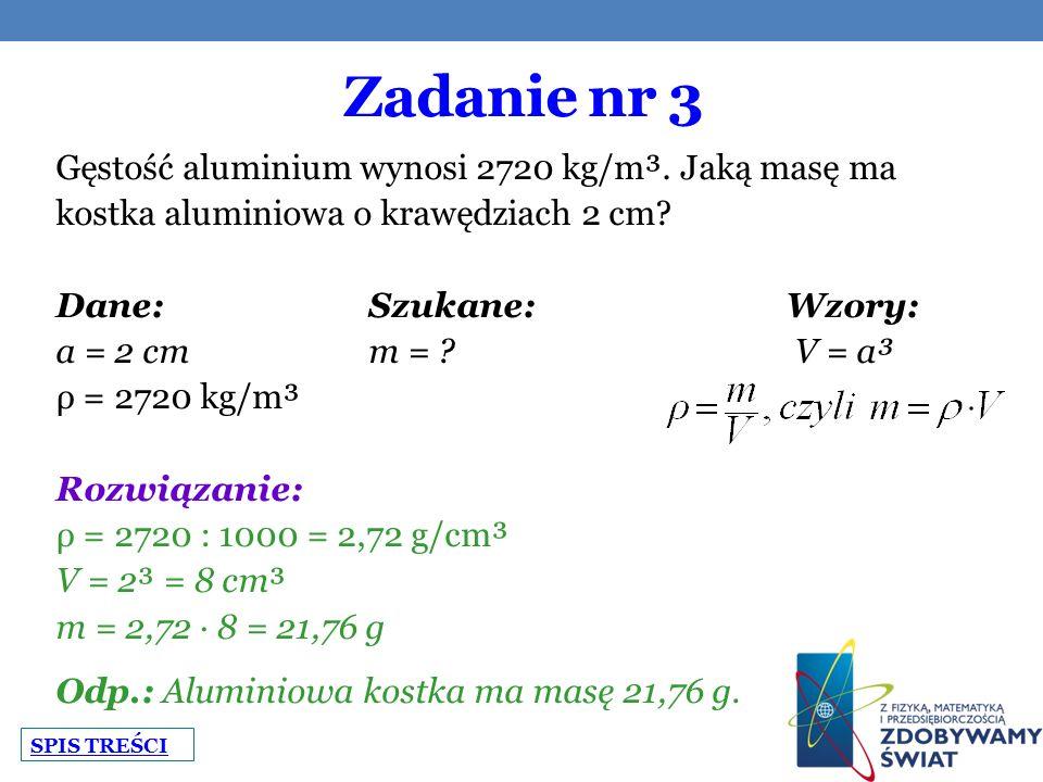 Zadanie nr 3 Gęstość aluminium wynosi 2720 kg/m³. Jaką masę ma