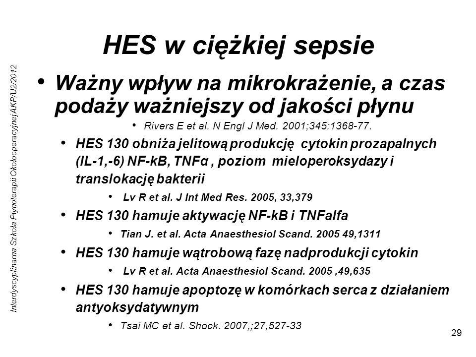 HES w ciężkiej sepsie Ważny wpływ na mikrokrażenie, a czas podaży ważniejszy od jakości płynu. Rivers E et al. N Engl J Med. 2001;345:1368-77.