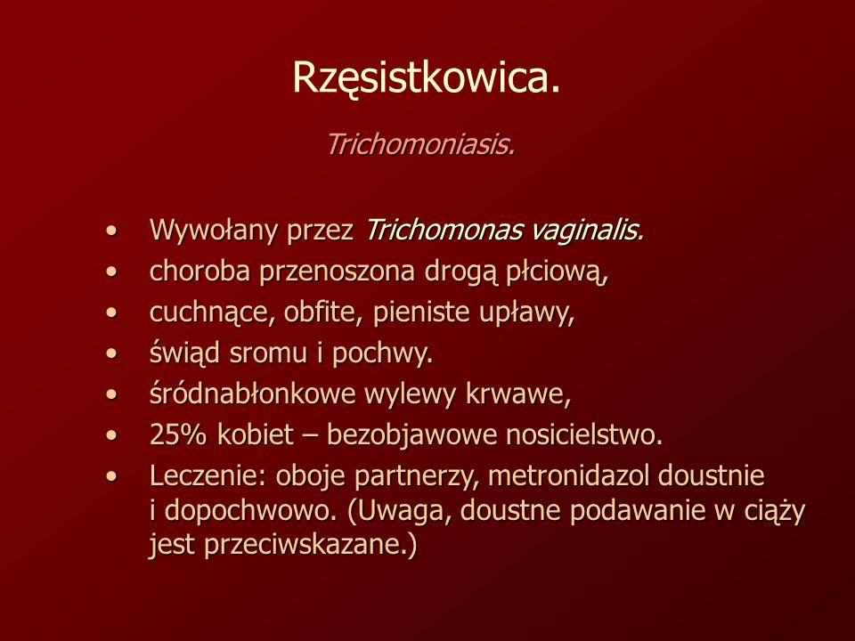 Rzęsistkowica. Trichomoniasis. Wywołany przez Trichomonas vaginalis.