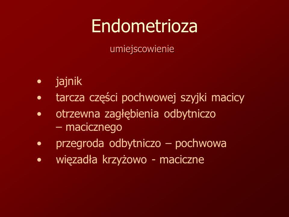 Endometrioza jajnik tarcza części pochwowej szyjki macicy