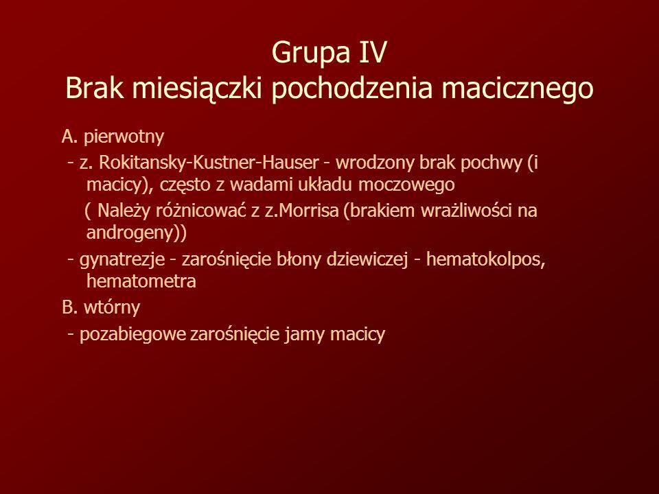 Grupa IV Brak miesiączki pochodzenia macicznego